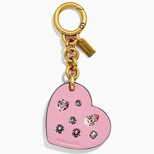 Coach Pink Leather Heart Crystals Charm Keychain